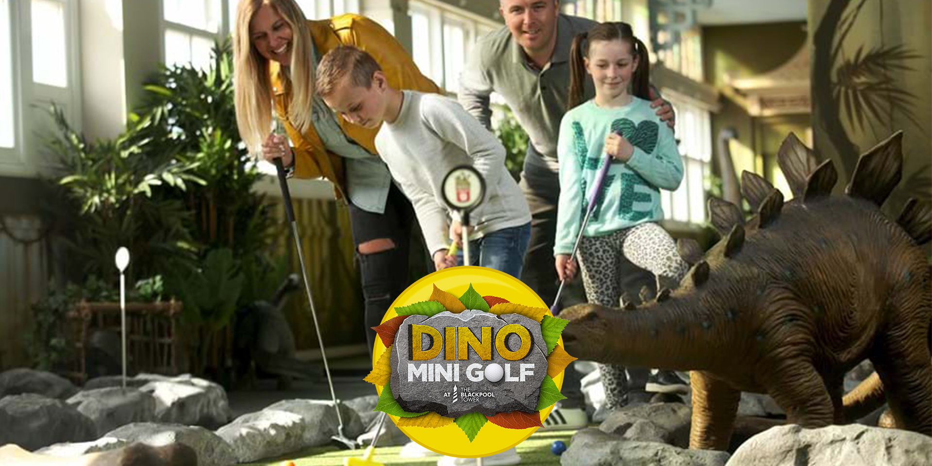 Family playing Dino Mini Golf at Blackpool Tower
