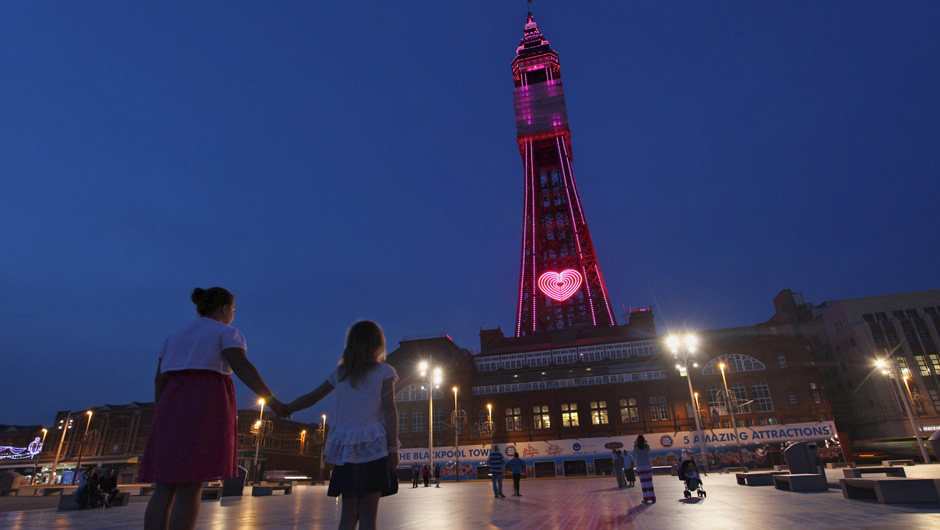 Blackpool Tower Lit up in the evening with pink heart
