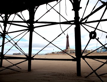 View of the Blackpool Tower from the beach