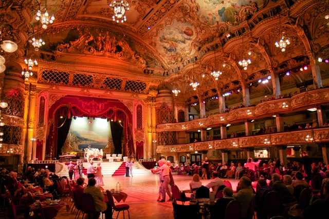 Visitors dancing in the Blackpool Tower Ballroom