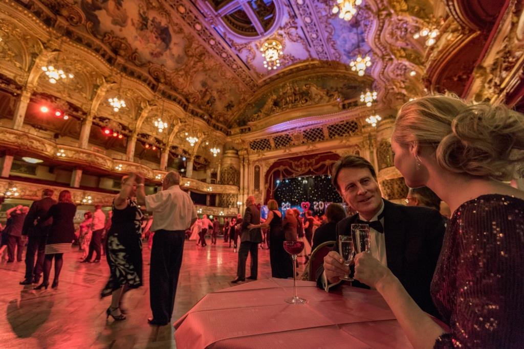 Guests dancing and drinking at the Blackpool Tower Ballroom