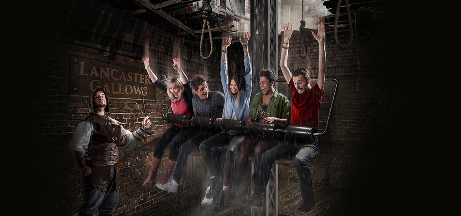 Guests on the drop dead ride at the Blackpool Tower Dungeon