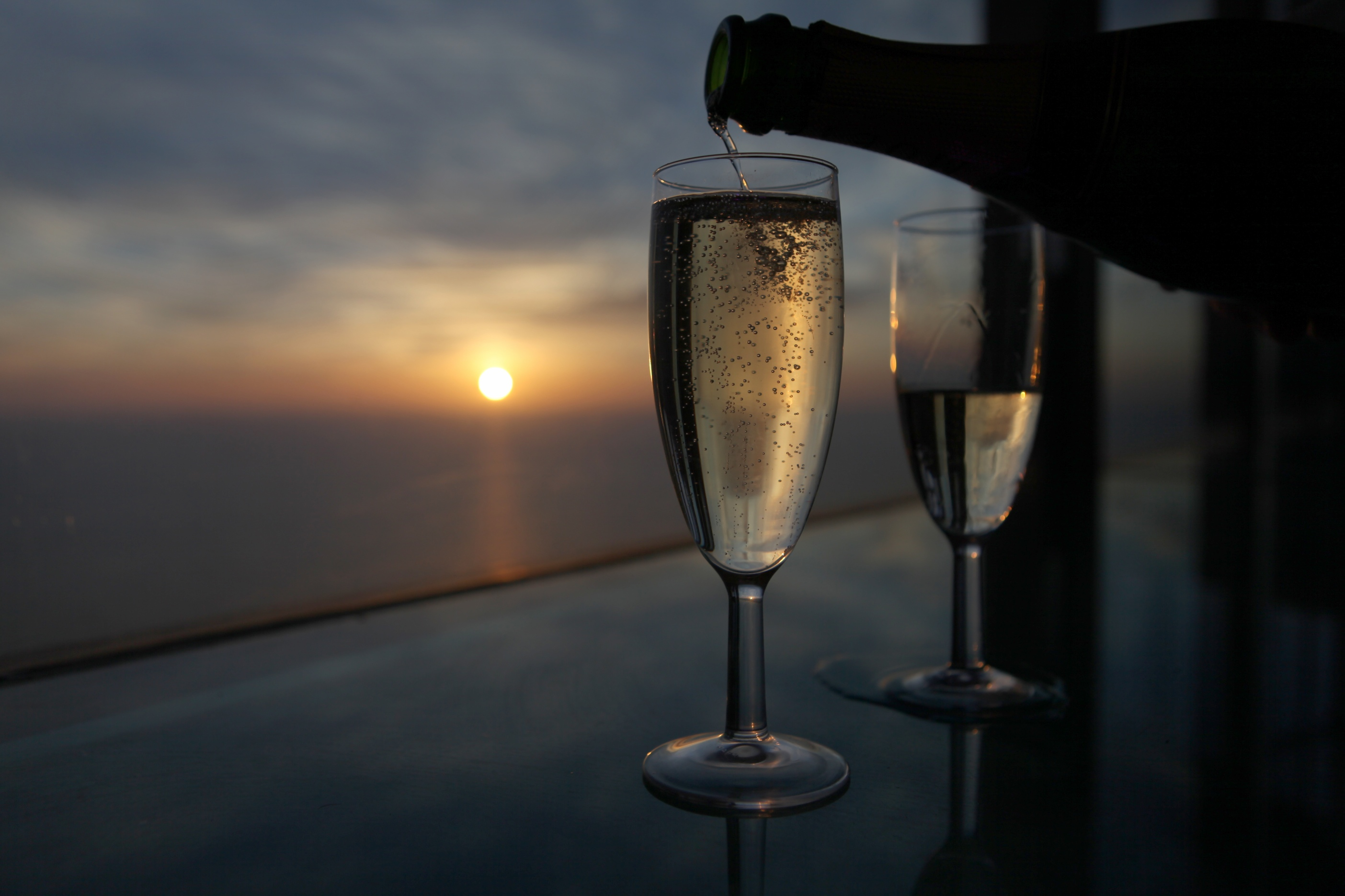Pouring champagne at the top of the blackpool tower eye